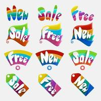 Set of colorful sale, new, free stickers, tags