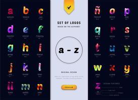 caracteres del alfabeto con efecto degradado