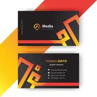 Orange and yellow gradient line business card template vector
