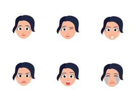 Set Of Cute Girl Heads With Different Facial Expressions vector