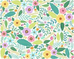 Floral pattern in doodle style with flowers and leaves vector