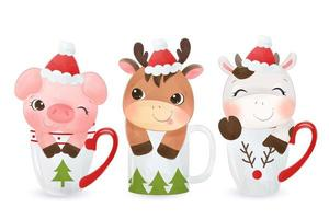 Cute animals sitting in mugs wearing Christmas hats