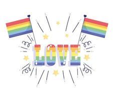 Happy pride day, rainbow flags love celebration design vector