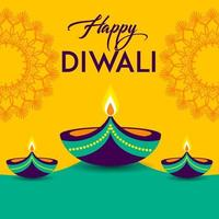 Diwali green and yellow greeting card with lights