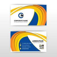 Abstract yellow curve corporate card template vector