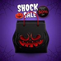 diseño de cartel púrpura de venta de halloween vector