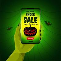 Halloween sale poster with smartphone in zombie hand vector