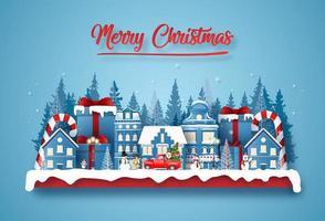 postal navideña cortada en papel con elementos de invierno vector