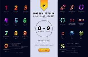 Number and punctuation gradient character set vector