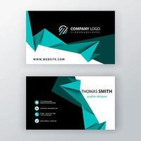Blue green polygonal editable business card vector
