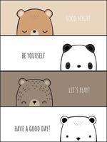pancartas de doodle de dibujos animados de familia de osos vector