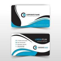 plantilla de tarjeta de visita de remolino azul y negro vector