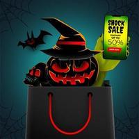 cartel de venta de halloween con criaturas en bolsa de compras vector