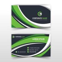 Green and black curve business card template vector