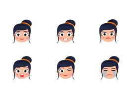 Cute Funny Head Set With Different Expression vector