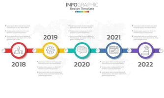 Timeline infographic template with 5 elements