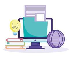 concepto de educación en línea con iconos de la escuela