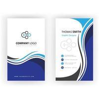 Blue swirl vertical business card template vector