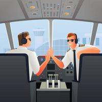 Airplane pilots in cabin