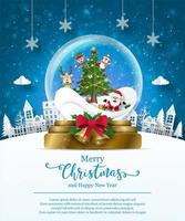Christmas poster template with snow globe