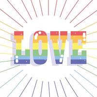 Happy pride day, rainbow love lettering for LGBT community