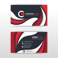 Abstract red and white wave business card template