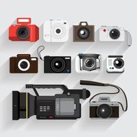 conjunto de cámara gráfica y grabadora de video vector