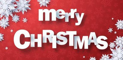 Christmas banner with paper cut lettering vector