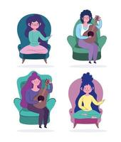 Peopl at home in chairs and playing giuiar set vector