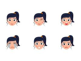 Cute Girl Head Set With Different Facial Expressions vector