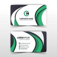 Green swirl business card template