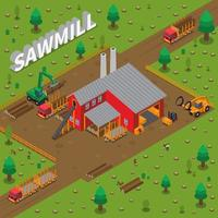 Sawmill Timber Mill Lumberjack Isometric Composition vector