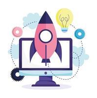 concepto de educación en línea con lanzamiento de cohetes vector