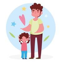 Father and daughter with hearts and stars vector