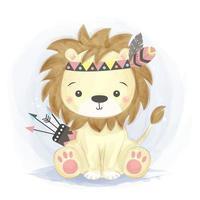 adorable bebé león en traje de guerrero tribal vector