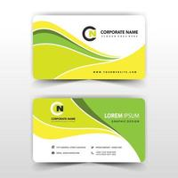 Abstract green and yellow wavy business card template