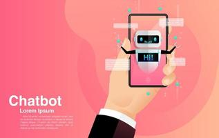 Chatting With Chatbot Mobile Application Concept vector
