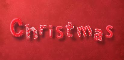 Christmas lettering on red pattern background
