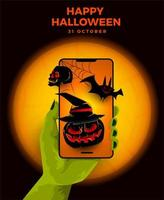 Halloween event poster with zombie hand holding phone