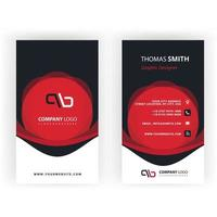 Red business card with abstract shapes vector
