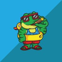 Frog with cigar and duck float vector