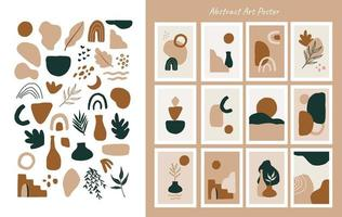 Sets of Aesthetic Abstract Posters and Elements vector