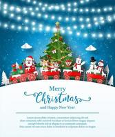 Christmas poster template with Santa Claus and friends