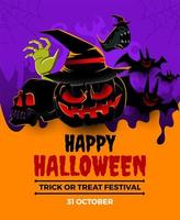 Halloween event poster with scary creatures vector