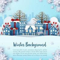 Paper cut winter and holidays background