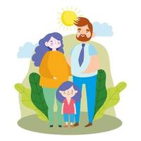 Cute family outdoors vector