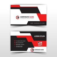 Red and black shape business card template