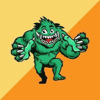 monstruo verde con las manos extendidas vector