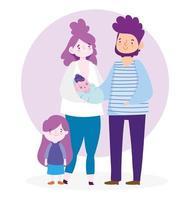 madre, padre e hijos con nubes. vector