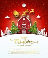 Christmas poster template with cute barn